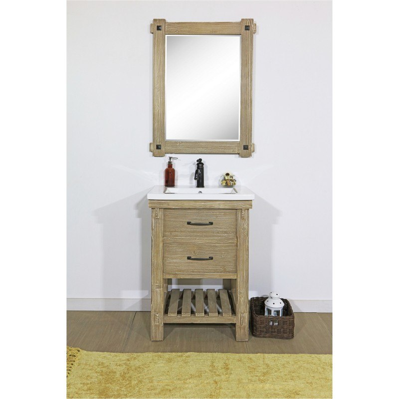 Infurniture Wk8224 24 Inch Rustic Solid Fir Vanity With Ceramic Single Sink
