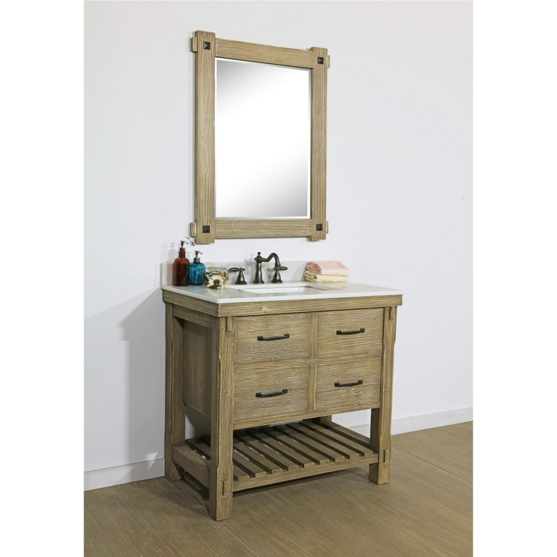 INFURNITURE WK8236+AP TOP 36 INCH RUSTIC SOLID FIR SINGLE SINK VANITY WITH ARCTIC PEARL QUARTZ MARBLE TOP