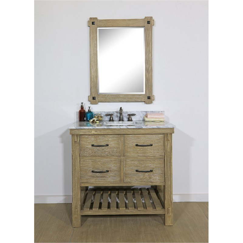 INFURNITURE WK8236+CW TOP 36 INCH RUSTIC SOLID FIR SINGLE SINK VANITY WITH CARRARA WHITE MARBLE TOP