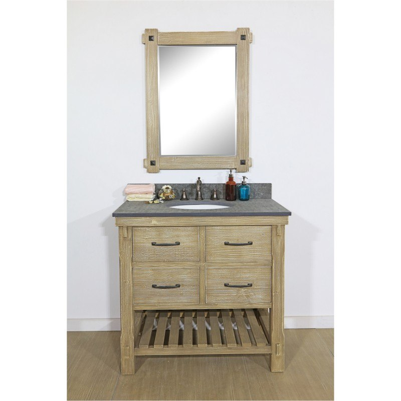 INFURNITURE WK8236+MG TOP 36 INCH RUSTIC SOLID FIR SINGLE SINK VANITY WITH POLISHED TEXTURED SURFACE GRANITE TOP