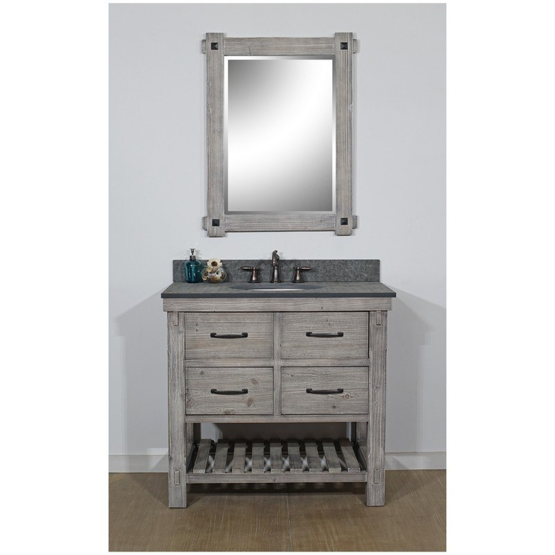 INFURNITURE WK8236-G+MG TOP 36 INCH RUSTIC SOLID FIR SINGLE SINK VANITY IN GREY DRIFTWOOD WITH POLISHED TEXTURED SURFACE GRANITE TOP