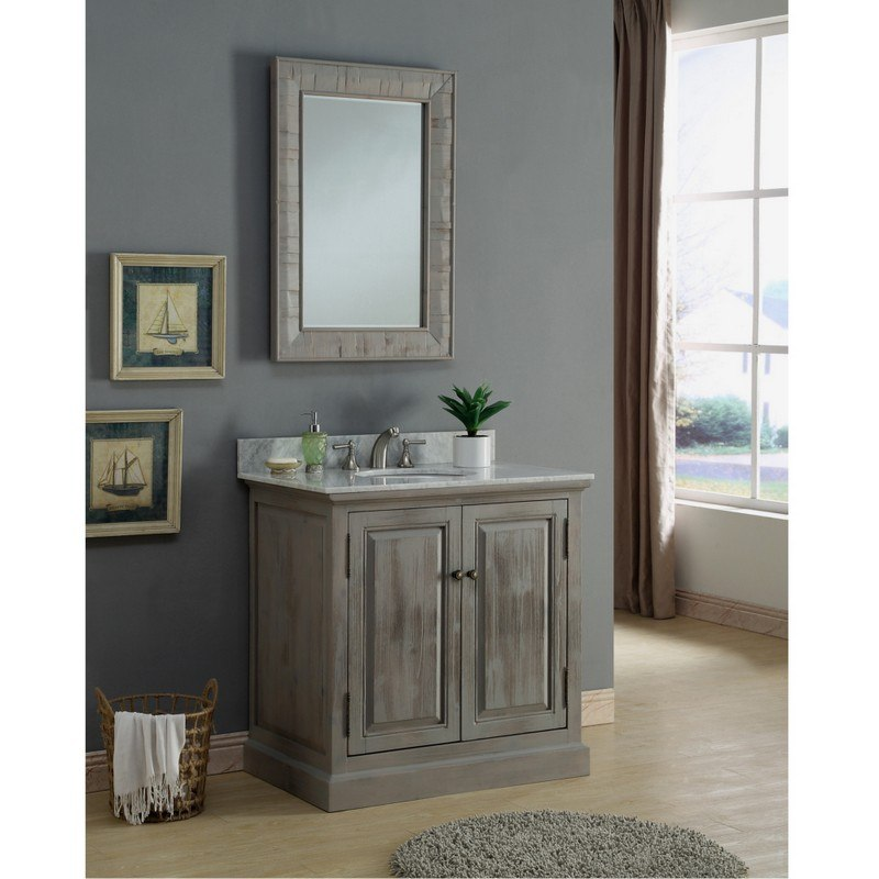 INFURNITURE WK8336+CW TOP 36 INCH SOLID RECYCLED FIR SINK VANITY IN GREY WITH CARRARA WHITE MARBLE TOP