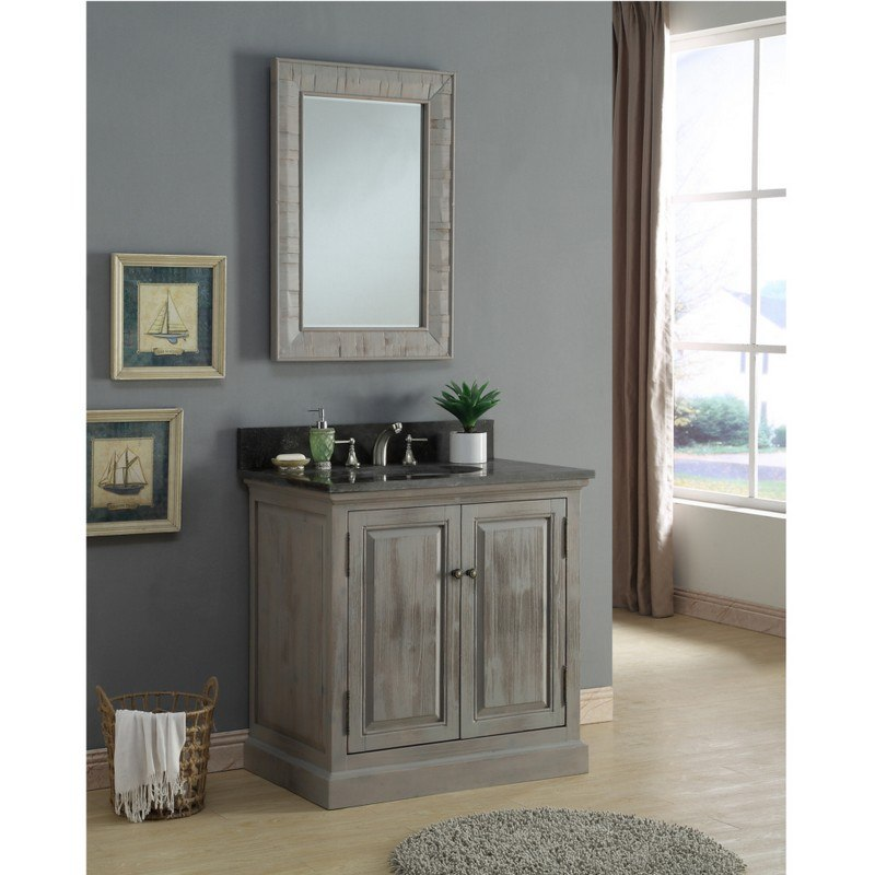 INFURNITURE WK8336+WK TOP 36 INCH SOLID RECYCLED FIR SINK VANITY IN GREY WITH LIMESTONE TOP