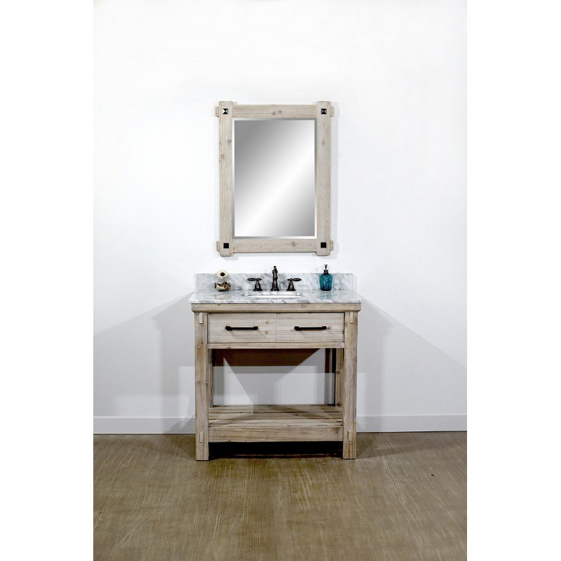 INFURNITURE WK8436+CW TOP 36 INCH RUSTIC SOLID FIR SINGLE SINK VANITY WITH CARRARA WHITE MARBLE TOP