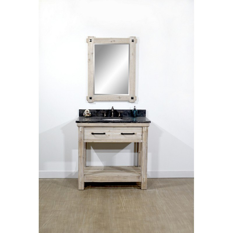 INFURNITURE WK8436+WK TOP 36 INCH RUSTIC SOLID FIR SINGLE SINK VANITY WITH LIMESTONE TOP
