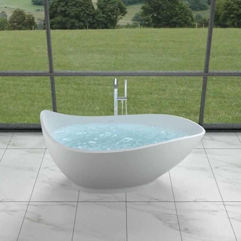 INFURNITURE WS-BT-V2-G 68 INCH POLYSTONE TEAR DROP FREE STANDING BATHTUB IN GLOSSY WHITE