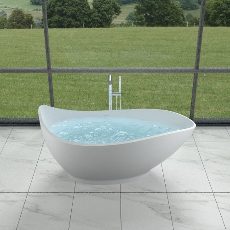 INFURNITURE WS-BT-V2-M 68 INCH POLYSTONE TEAR DROP FREE STANDING BATHTUB IN MATTE WHITE
