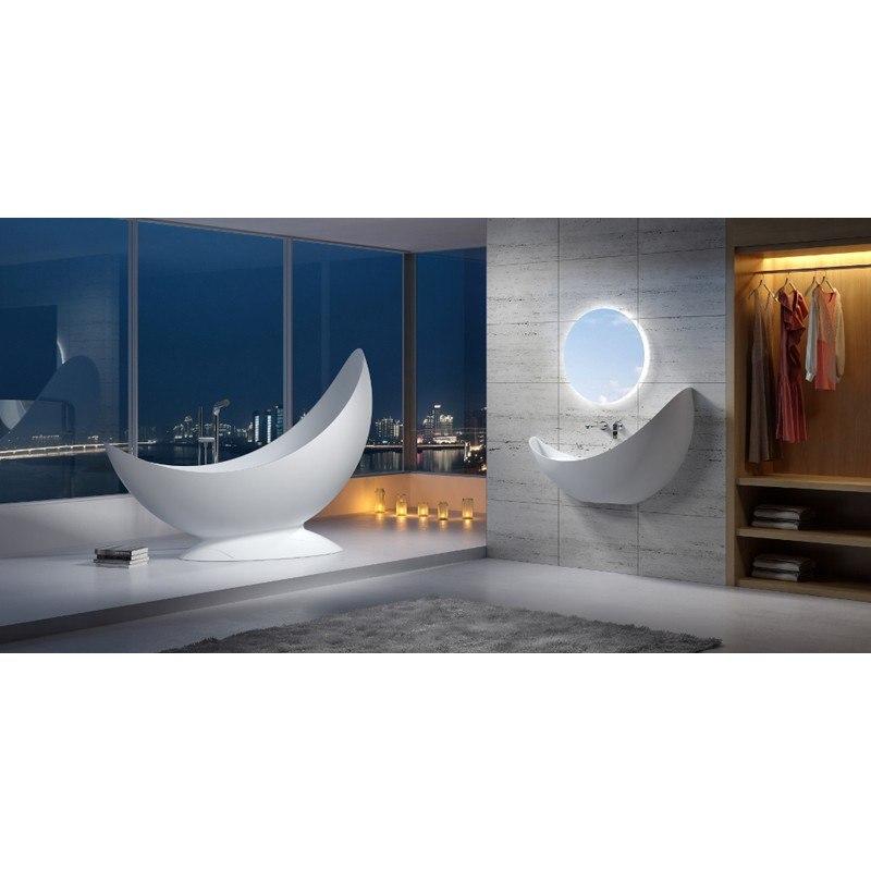 INFURNITURE WS-BT-V3L-G 78 INCH POLYSTONE HALF MOON FREE STANDING BATHTUB IN GLOSSY WHITE