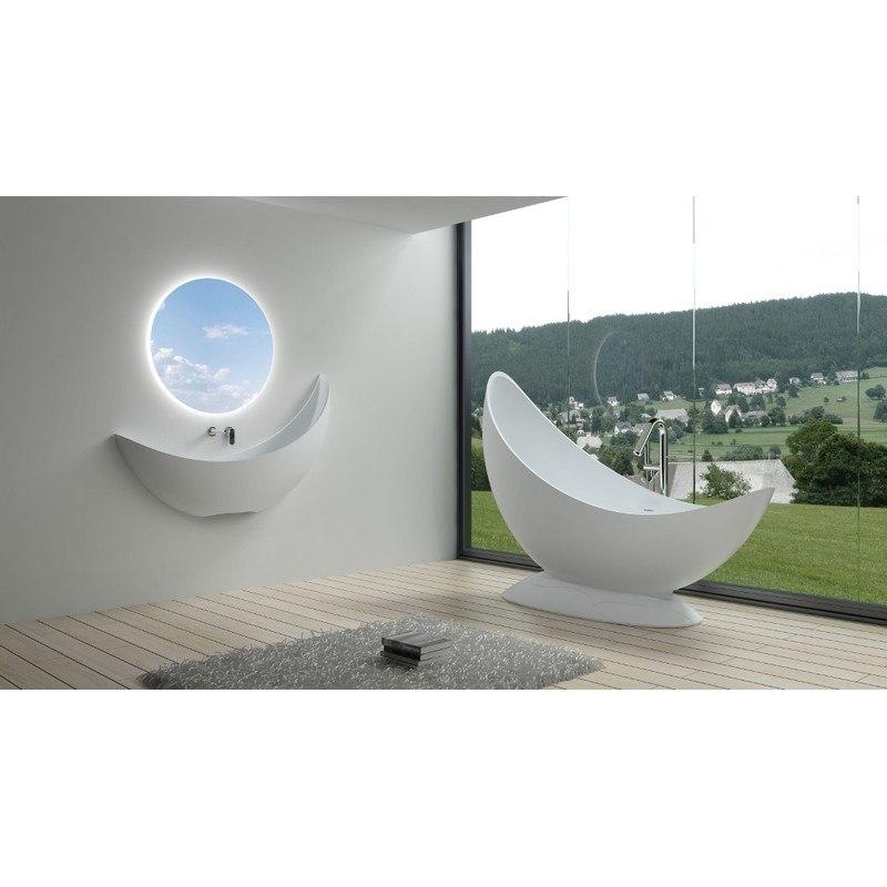 INFURNITURE WS-BT-V3M-G 70 INCH POLYSTONE FREE STANDING BATHTUB IN GLOSSY WHITE