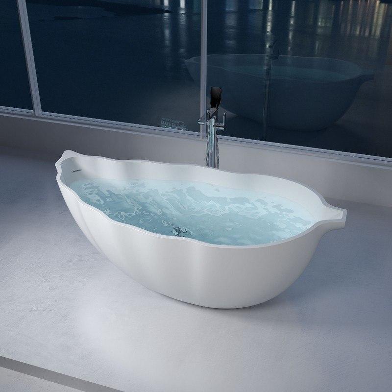 INFURNITURE WS-BT-V7-M 69 INCH POLYSTONE LEAF FREE STANDING BATHTUB IN MATTE WHITE