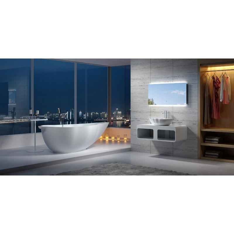 INFURNITURE WS-BT-V8-G 75 INCH POLYSTONE LEAF FREE STANDING BATHTUB IN GLOSSY WHITE