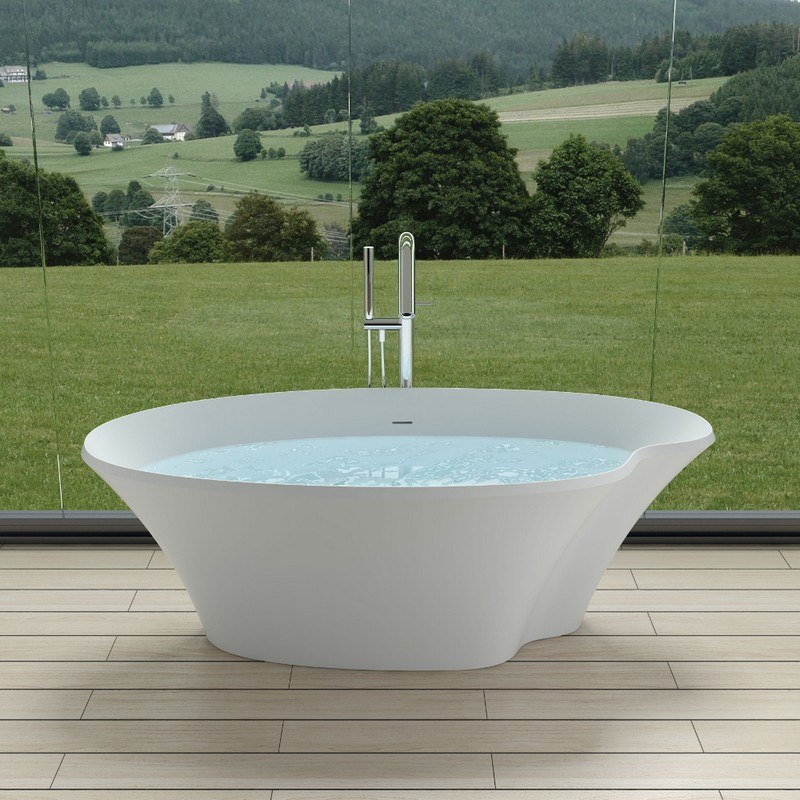 INFURNITURE WS-BT-V9N-M 70 INCH POLYSTONE POND FREE STANDING BATHTUB IN MATTE WHITE