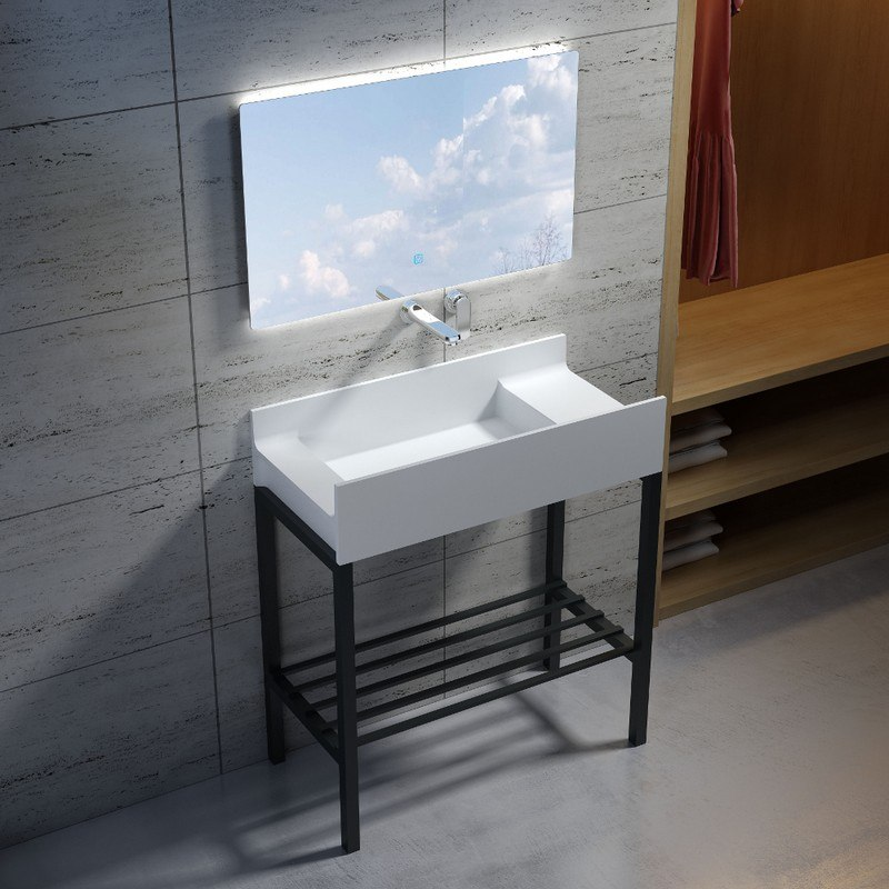 INFURNITURE WS-SF-M2+F-G 31 INCH POLYSTONE RECTANGULAR SINK IN GLOSSY WHITE WITH STAINLESS STEEL FREESTANDING FRAME