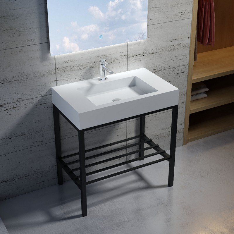 INFURNITURE WS-SF-M6+F-G 31 INCH POLYSTONE RECTANGULAR SINK IN GLOSSY WHITE WITH STAINLESS STEEL FREESTANDING FRAME