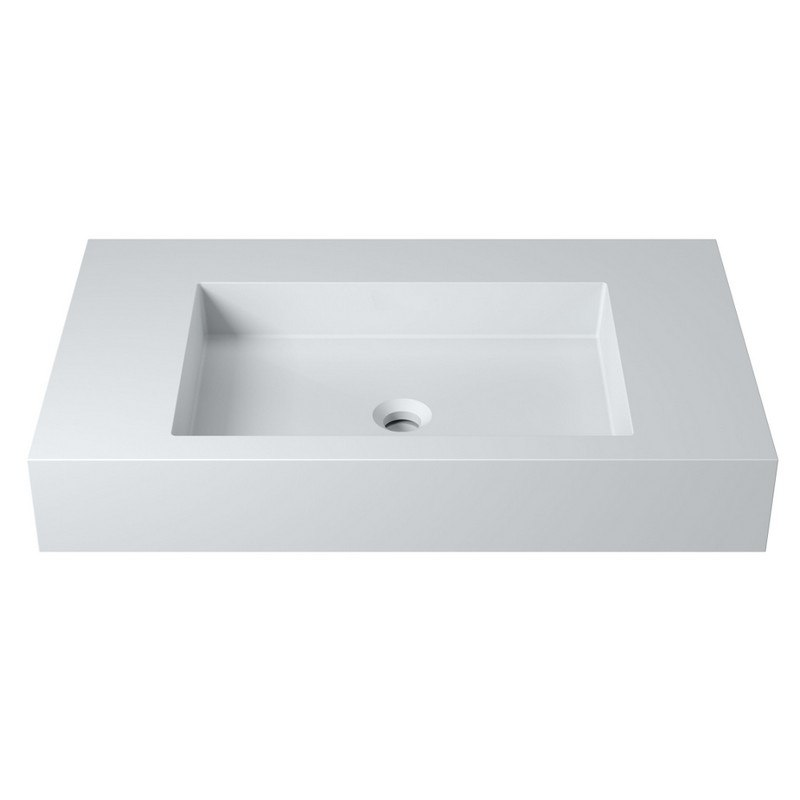 INFURNITURE WS-WS-K75-G 31 INCH POLYSTONE RECTANGULAR WALL MOUNTED SINK IN GLOSSY WHITE