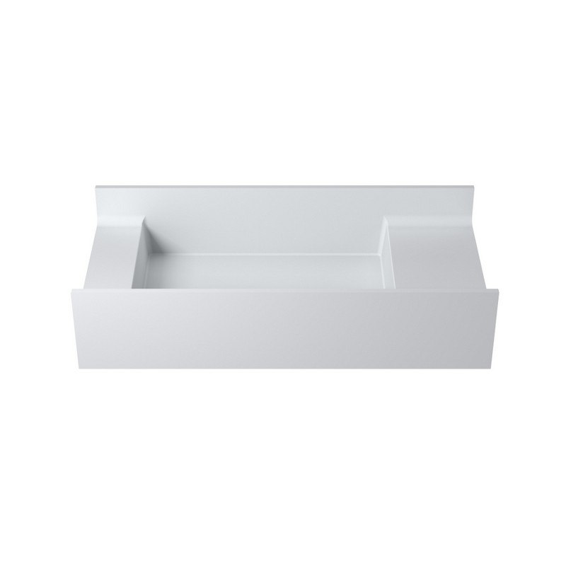 INFURNITURE WS-WS-V67-G 31 INCH POLYSTONE RECTANGULAR WALL MOUNTED SINK ONLY IN GLOSSY WHITE