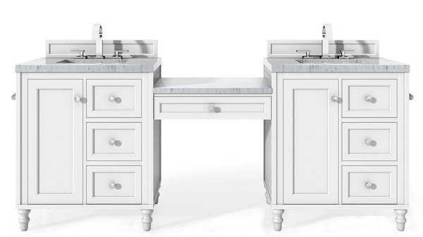 James Martin 301 V86 Bw Du 3car Copper Cove Encore 90 Inch Double Vanity Set In Bright White With Makeup Table With 3