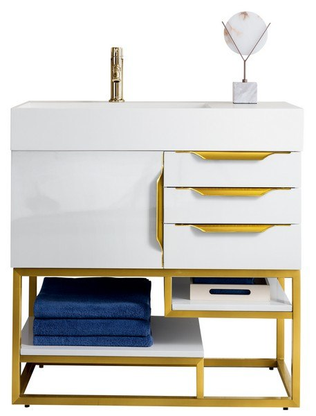JAMES MARTIN 388-V36-GW-RG-MW COLUMBIA 36 INCH SINGLE VANITY IN GLOSSY WHITE, RADIANT GOLD WITH MATTE WHITE SOLID SURFACE TOP
