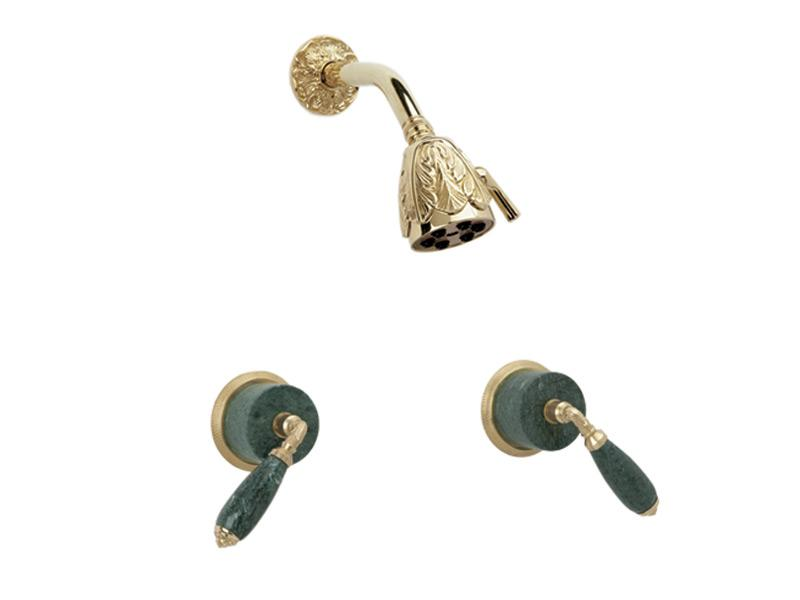 PHYLRICH K3338F VALENCIA WALL MOUNT SHOWER SET WITH TWO GREEN MARBLE LEVER HANDLES
