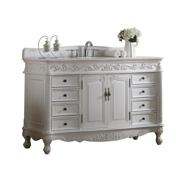 Modetti Mod3882aw 56 Buckingham 56 Inch Single Bathroom Vanity Set In White Antique