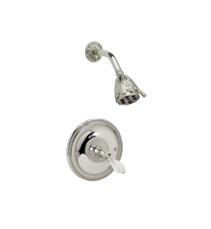 PHYLRICH PB3180 LOUIS XIV CUT CRYSTAL WALL MOUNT PRESSURE BALANCE SHOWER SET WITH LEVER HANDLE