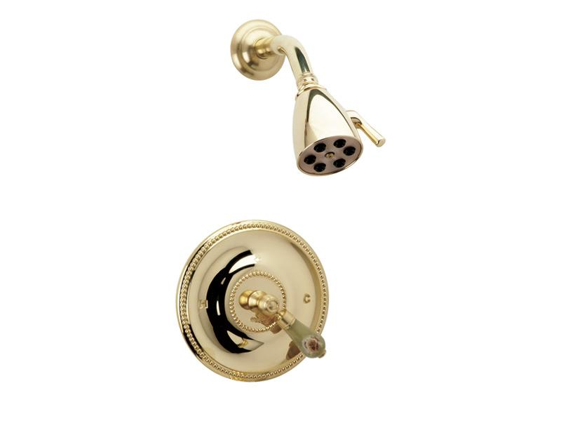 PHYLRICH PB3270 REGENT WALL MOUNT PRESSURE BALANCE SHOWER SET WITH GREEN ONYX LEVER HANDLE