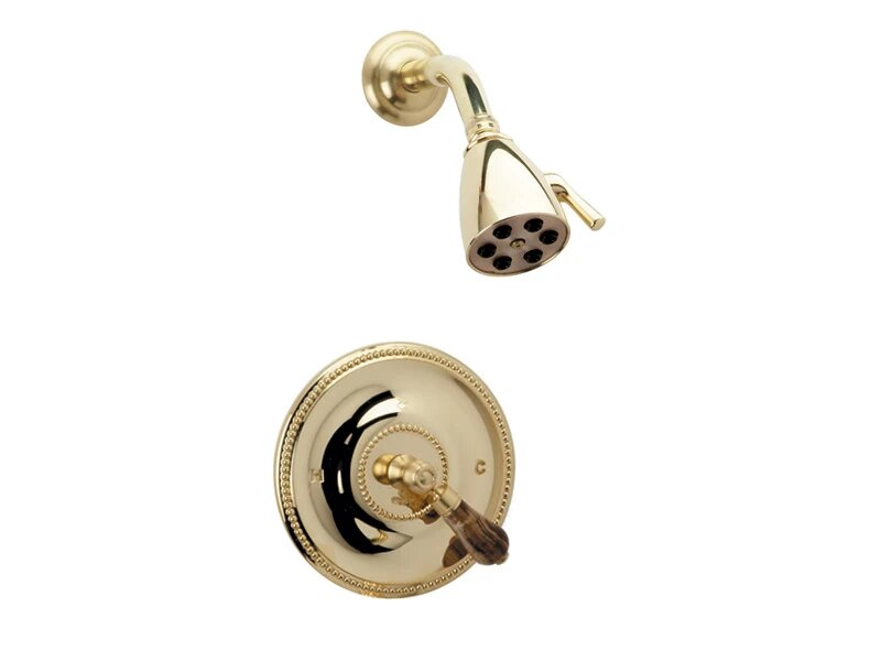 PHYLRICH PB3271 REGENT WALL MOUNT PRESSURE BALANCE SHOWER SET WITH MONTAIONE BROWN ONYX LEVER HANDLE