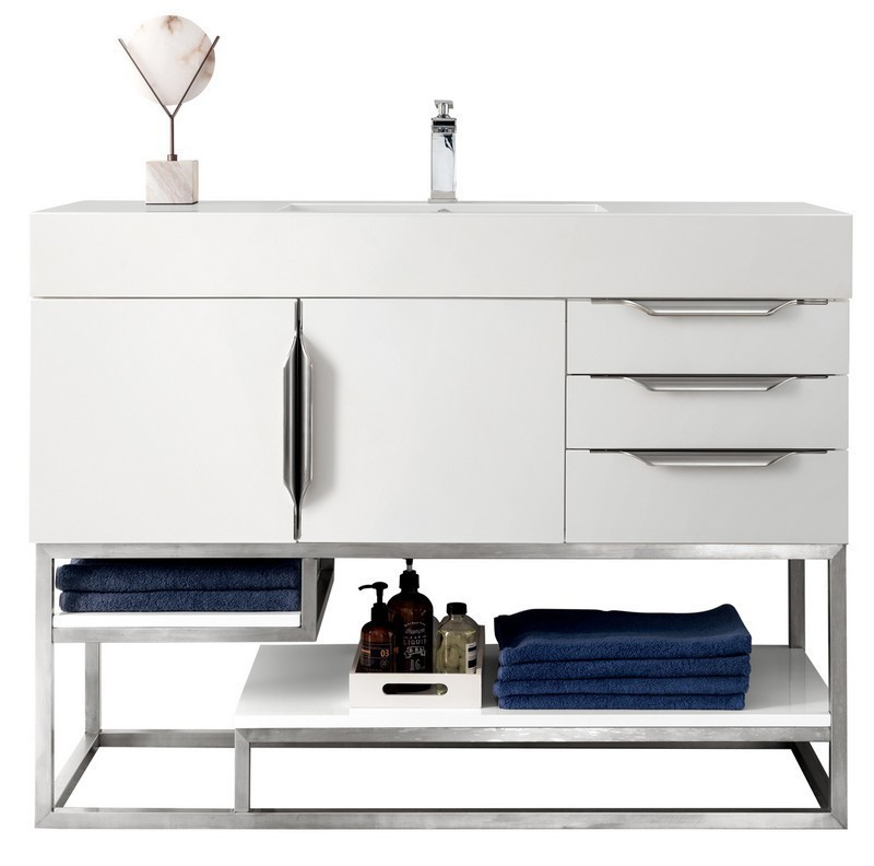 JAMES MARTIN 388-V48-GW-BN-GW COLUMBIA 48 INCH SINGLE VANITY IN GLOSSY WHITE WITH GLOSSY WHITE SOLID SURFACE TOP
