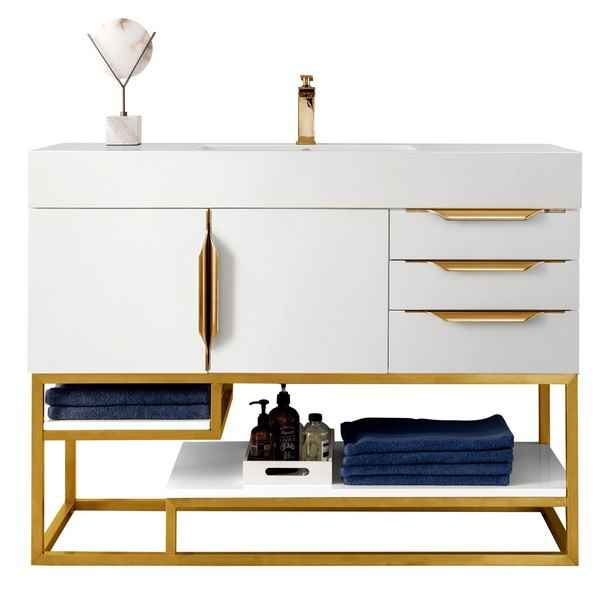 JAMES MARTIN 388-V48-GW-RG-GW COLUMBIA 48 INCH SINGLE VANITY IN GLOSSY WHITE, RADIANT GOLD WITH GLOSSY WHITE SOLID SURFACE TOP