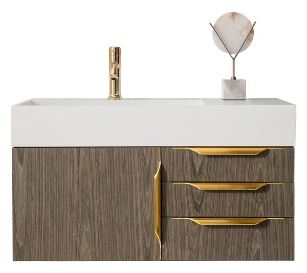 JAMES MARTIN 389-V36-AGR-G MERCER ISLAND 36 INCH SINGLE VANITY IN ASH GRAY, RADIANT GOLD