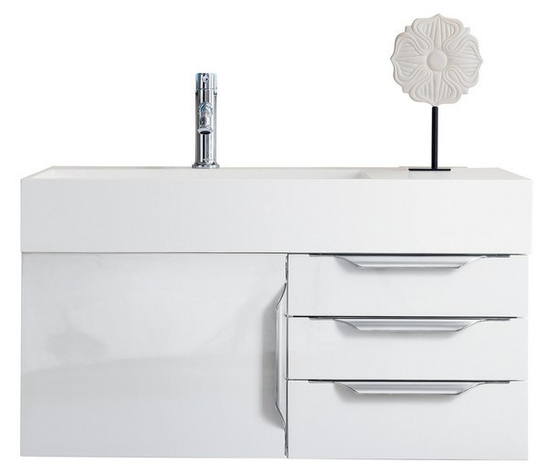 JAMES MARTIN 389-V36-GW-A-GW MERCER ISLAND 36 INCH SINGLE VANITY IN GLOSSY WHITE WITH GLOSSY WHITE SOLID SURFACE TOP