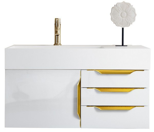 JAMES MARTIN 389-V36-GW-G-MW MERCER ISLAND 36 INCH SINGLE VANITY IN GLOSSY WHITE, RADIANT GOLD WITH MATTE WHITE SOLID SURFACE TOP