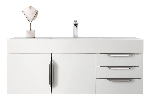JAMES MARTIN 389-V48-GW-A-GW MERCER ISLAND 48 INCH SINGLE VANITY IN GLOSSY WHITE, RADIANT GOLD WITH GLOSSY WHITE SOLID SURFACE TOP