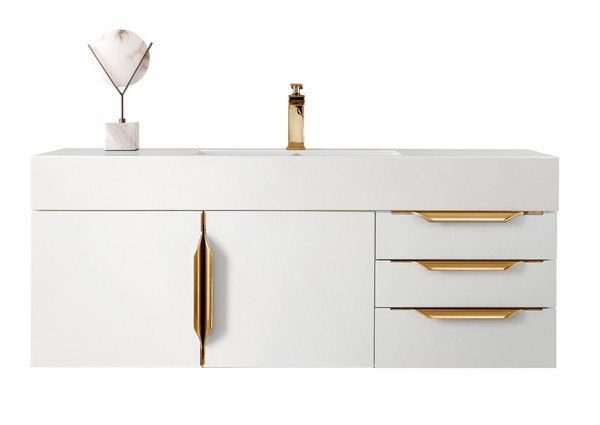 JAMES MARTIN 389-V48-GW-G-GW MERCER ISLAND 48 INCH SINGLE VANITY IN GLOSSY WHITE, RADIANT GOLD WITH GLOSSY WHITE SOLID SURFACE TOP