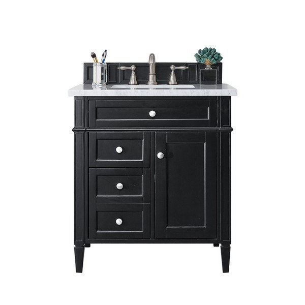 James Martin 650 V30 Bko 3clw Brittany 30 Inch Single Vanity In Black Onyx With 3 Cm Classic White Quartz Top With