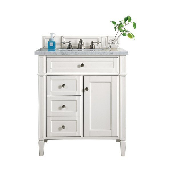 James Martin 650 V30 Cwh 3clw Brittany 30 Inch Single Vanity In Cottage White With 3 Cm Classic White Quartz Top With