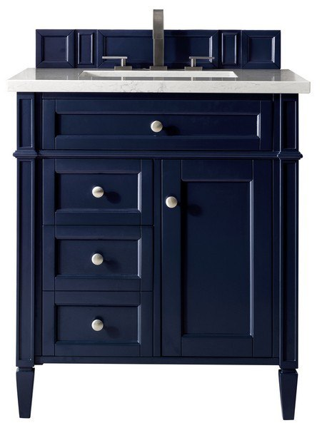 James Martin 650 V30 Vbl 3clw Brittany 30 Inch Single Vanity In Victory Blue With 3 Cm Classic White Quartz Top With