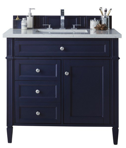 James Martin 650 V36 Vbl 3af Brittany 36 Inch Victory Blue Single Vanity With 3 Cm Arctic Fall Solid Surface Top