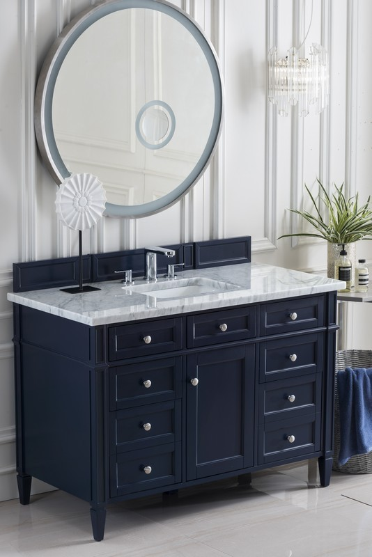 JAMES MARTIN 650-V48-VBL-3CAR BRITTANY 48 INCH VICTORY BLUE SINGLE VANITY WITH 3 CM CARRARA MARBLE TOP