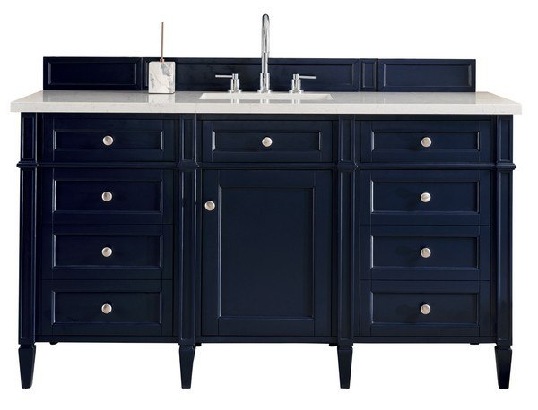 James Martin 650 V60s Vbl 3odsc Brittany 60 Inch Victory Blue Single Vanity With 3 Cm Santa Cecilia Top With Oval