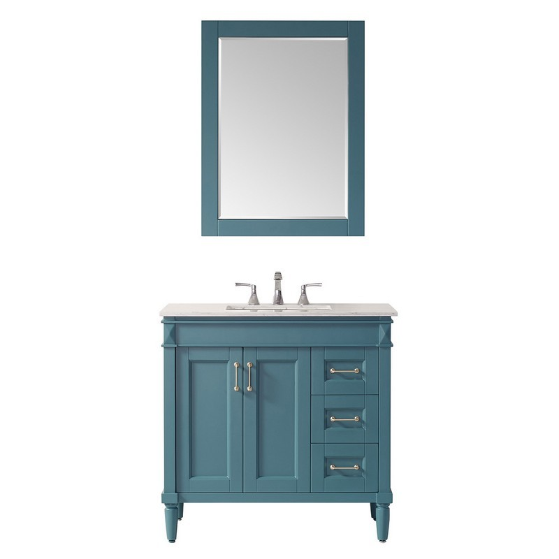 Vinnova 715036 Rg Ca Catania 36 Inch Vanity In Royal Green With Carrara White Marble Countertop With Mirror