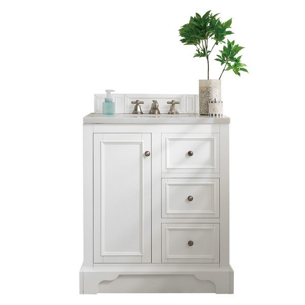 JAMES MARTIN 825-V30-BW-3CLW DE SOTO 31 INCH SINGLE VANITY IN BRIGHT WHITE WITH 3 CM CLASSIC WHITE QUARTZ TOP WITH SINK