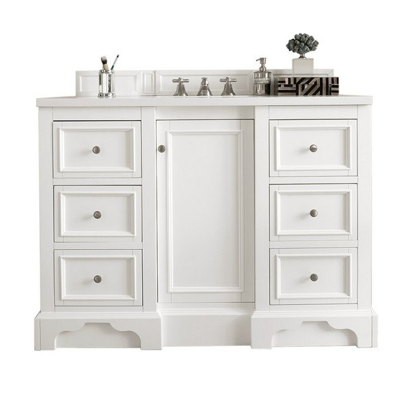 JAMES MARTIN 825-V48-BW-3CSP DE SOTO 48 INCH SINGLE VANITY IN BRIGHT WHITE WITH 3 CM CHARCOAL SOAPSTONE QUARTZ TOP WITH SINK