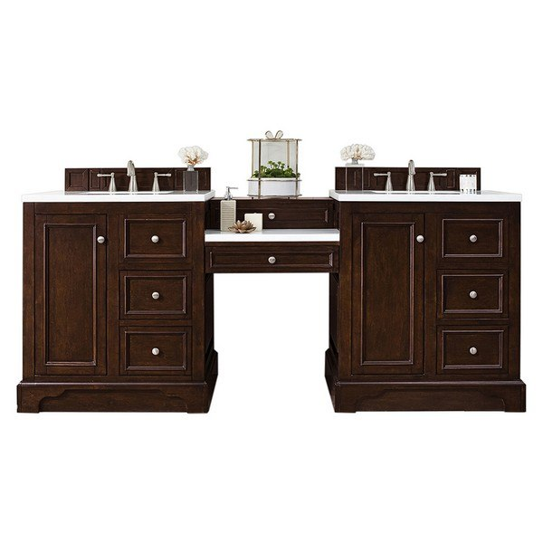 JAMES MARTIN 825-V82-BNM-DU-CLW DE SOTO 82 INCH DOUBLE VANITY SET IN BURNISHED MAHOGANY WITH MAKEUP TABLE, 3 CM CLASSIC WHITE QUARTZ TOP