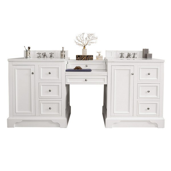 JAMES MARTIN 825-V82-BW-DU-CLW DE SOTO 82 INCH DOUBLE VANITY SET IN BRIGHT WHITE WITH MAKEUP TABLE, 3 CM CLASSIC WHITE QUARTZ TOP