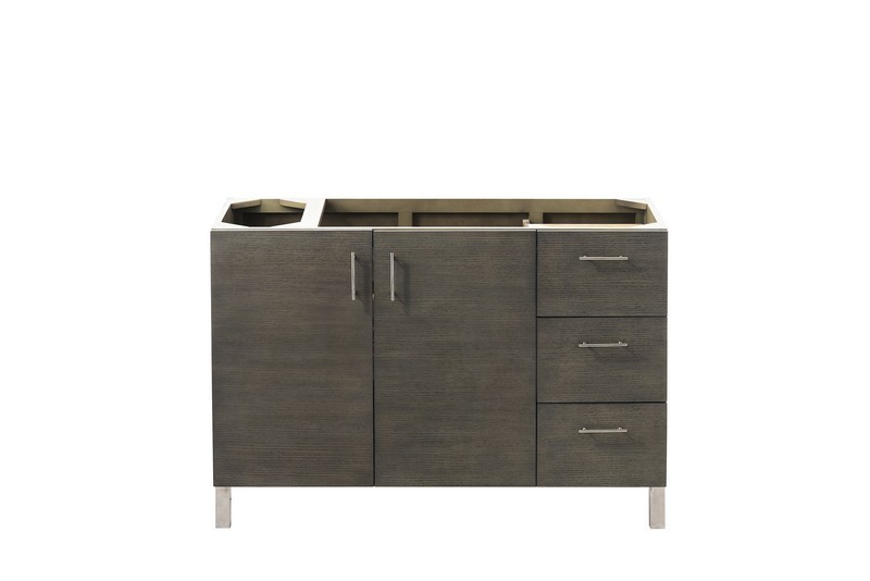 JAMES MARTIN 850-V48-SOK-3CLW METROPOLITAN 48 INCH SINGLE VANITY IN SILVER OAK WITH 3 CM CLASSIC WHITE QUARTZ TOP WITH SINK