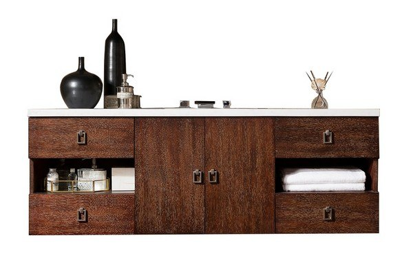 JAMES MARTIN 860-V60S-CFO-3GEX SONOMA 60 INCH SINGLE VANITY IN COFFEE OAK WITH 3 CM GREY EXPO QUARTZ TOP WITH SINK
