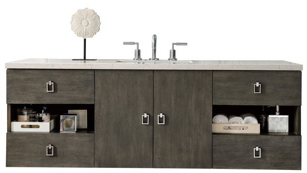 JAMES MARTIN 860-V60S-SOK-3GEX SONOMA 60 INCH SINGLE VANITY IN SILVER OAK WITH 3 CM GREY EXPO QUARTZ TOP WITH SINK