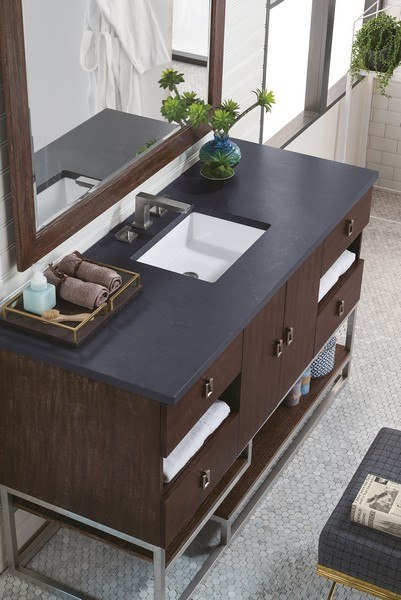 JAMES MARTIN 864-V60S-CFO-3CSP SONORAN 60 INCH SINGLE VANITY IN COFFEE OAK WITH 3 CM CHARCOAL SOAPSTONE QUARTZ TOP WITH SINK