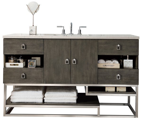 JAMES MARTIN 864-V60S-SOK-3AF SONORAN 60 INCH SINGLE VANITY IN SILVER OAK WITH 3 CM ARCTIC FALL SOLID SURFACE TOP